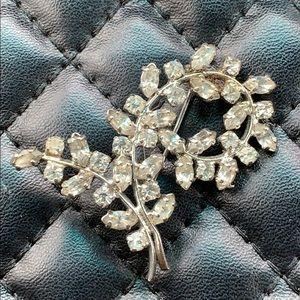Vintage Gatsby Silver Rhinestone Leaf Brooch